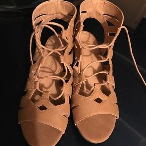 Tan Franco Sarto gladiator wedge sandals
